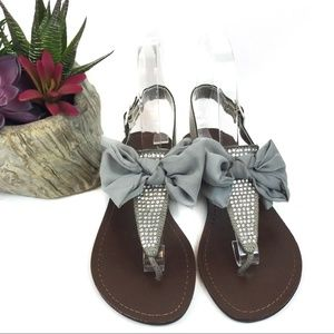 New Material Girl Solar Silver Sandals Us 6